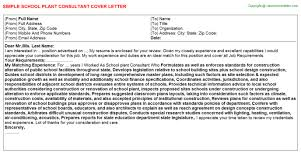 plant consultant cover letter