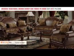 sofa dresden acme dresden traditional brown cherry oak fabric pu wood sofa with