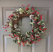 christmas frosted holly berry pine cone wreath tutti decor ltd