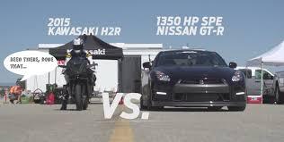 nissan gtr alpha omega price kawasaki ninja h2r drag races 1 350 hp nissan gt r gets trampled