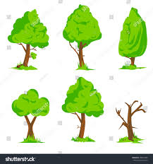 trees set objects be used stock vector 458672080