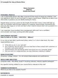Work Experience Examples For Resume by A Stay At Home Mom Resume Sample For Parents With Only A Little