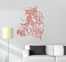 teens 3d wall murals promotion shop for promotional teens 3d wall 2016 new house vinyl decal girl headphones music teen room wall stickers mural free shipping