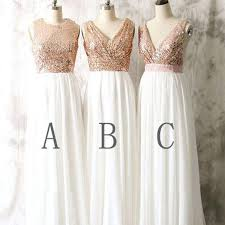 sequin top bridesmaid dresses 2017 mismatched different styles sequin top white chiffon on sale