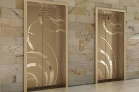 fused white gold elevator door skin in mirror finish with eco205h