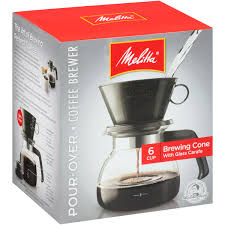 melitta pour over brewer 6 cup coffee maker with glass carafe