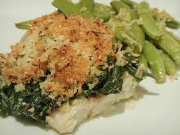 cuisine florentine fish florentine with parmesan crumbs and sugar snap peas this