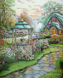 make coloring book coloring by betty hung colorart ca make a wish cottage from