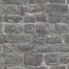 brick stone effect charcoal wallpaper 5818 15