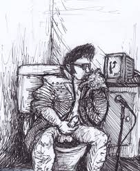 elvis presley sitting on the shitter eating a deep fried pig