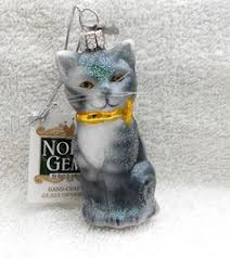 santa cat blown glass ornament decoration tree bauble