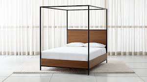 james walnut with black frame queen canopy bed crate and barrel