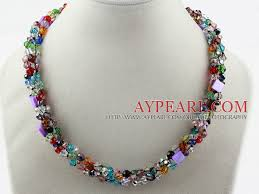 multi crystal necklace images Multi strands multi color crystal necklace with magnetic clasp jpg