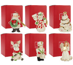 lenox set of 6 porcelain ornaments with gift box qvc