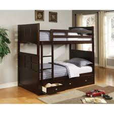 Bunk Beds With Storage Drawers by Twin Over Twin Wood Bunk Bed Rich Cappuccino