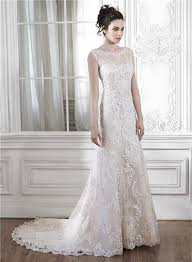illusion neckline wedding dress mermaid illusion neckline sleeveless open back lace wedding dress