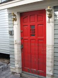 decorations classic red doors with small glass fits entryway