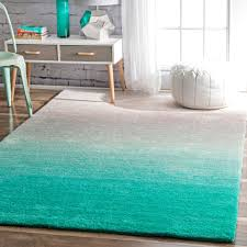 Turquoise And Gray Area Rug Nuloom Handmade Soft And Plush Ombre Shag Rug 8 U0027 X 10