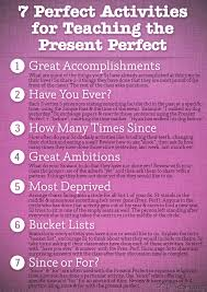 7 perfect activities to teach the present perfect poster