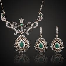 vintage necklace sets images Buy green resin turkish necklace earring jewelry jpg