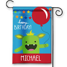 Decorative Garden Flags Happy Monsters Happy Birthday Personalized Party Banner Garden