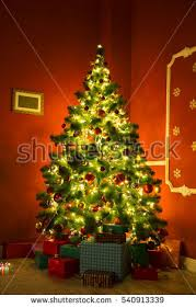 Decorated Christmas Tree Gifts by Beautifully Decorated Christmas Tree Many Presents Stock Photo
