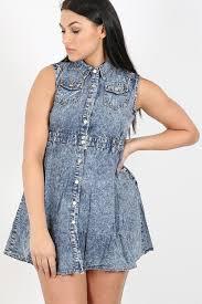 womens ladies vintage denim dress acid wash sleeveless top