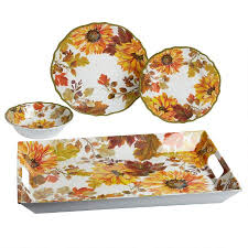 autumn sunflowers melamine dinnerware collection tree