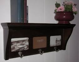 furniture brown wooden wall coat racks with shelf and steel hook