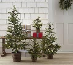 faux lit pine tree in basket pottery barn au