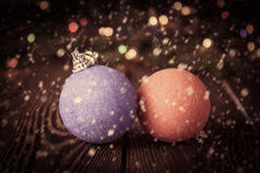 Vintage New Years Decorations by New Year Decorations Ball On Blue Royalty Free Stock Images