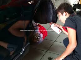 red color brake calipers painting on toyota vios