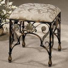 Velvet Vanity Chair Gilded Wrought Iron Bathroom Bench With Rounded Pink Velvet