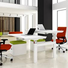 White Office Desk by Progress Sit Stand Electric Double Bench Office Desk Office