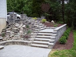 garden backyard stair exterior alongside grey stone staircase