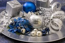 arrangement decorated balls and ornaments in a plate
