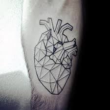 unique geometric heart mens inner forearm tattoo design ideas