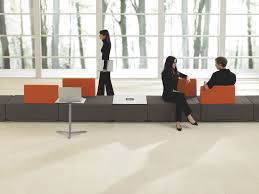 Teknion Reception Desk Modular Upholstered Bench Contemporary Fabric For Public