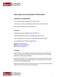 how to write a resume as a college student bard college career development office students bard basic job guide