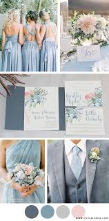 Dusty blue wedding with blue groomsmen Dusty blue bridesmaids and
