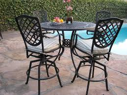 Patio Bar Table And Chairs Upholstered Wrought Iron Armchair With Square Bar Height Dining