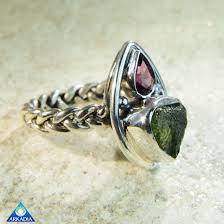 arkadia wedding band pink tourmaline moldavite 925 silver ring arkadia