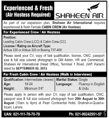 Sample Resume For Air Hostess Fresher by Air Hostess Jobs In Shaheen Air Line Pakistan Learningall