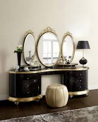 round dressing room ottoman vintage dressing table with mirror triple design with black gold