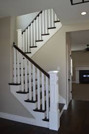 Painting A Banister White Open Railing With Hardwood Stairs We Love How The Dark Wood And