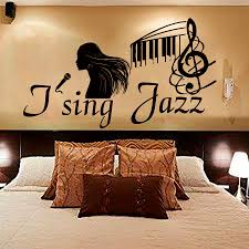 jazz home decor bedroom i sing jazz female singer wall sticker vinyl removable