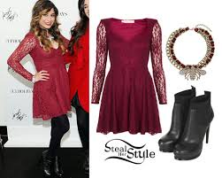 ally brooke red lace dress black boots steal her style