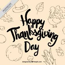 vintage greeting thanksgiving background with sketches vector