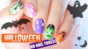 easy diy nail art for halloween no nail tools needed youtube