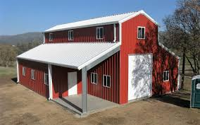 garage duplex metal barn homes in blue and red theme for best